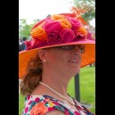 Gorgeous & Glorious Fuchsia Pink & Orange Two-Tone Hat with Burnt Ostrich
