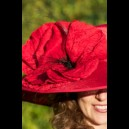 Gorgeous & Glorious Large Red Hat with Silk Poppies V1