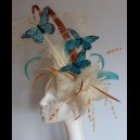 "Gorgeous & Glorious ""Hannako"" Ivory, Teal and Apricot Fascinator"