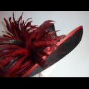 Gorgeous & Glorious Black Sinamay with Red Chinchilla Coque & trim