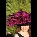 Gorgeous & Glorious Black Sinamay with Electric Pink Chinchilla Coque & Trim