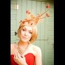 Gorgeous & Glorious Golden Sand & Brick Red Butterfly Headpiece