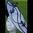 Gorgeous & Glorious White & Charcoal Saucer Headpiece for Hire