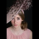 Pale Pink Sinamay Saucer with Pheasant Feathers