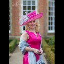 Gorgeous & Glorious Fuchsia And Silver Wide Brimmed Hat
