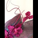 Gorgeous & Glorious Charcoal & Magenta Wide Brimmed Hat with Orchids