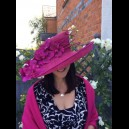 Gorgeous & Glorious Wide Brimmed Magenta Sinamay Hat