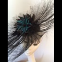 Gorgeous & Glorious Burnt Ostrich Feather Headpiece in Black