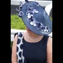 Gorgeous & Glorious Dancing Flower Large Saucer in Navy & White