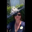 Gorgeous & Glorious Navy & Ivory Burnt Ostrich Feather Headpiece