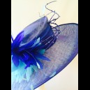 Gorgeous & Glorious Wide brimmed Hat in Royal/Peacock Two Tone Sinamay