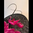 Gorgeous & Glorious Black Headpiece with Hot Pink Orchids