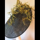 Gorgeous & Glorious Black Large Saucer Headpiece with Yellow Feathers