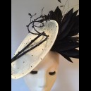 Gorgeous & Glorious Ivory Oval Saucer with Navy Feathers