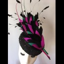 "Gorgeous & Glorious Black ""Feather Firework' with Magenta & Emerald"