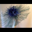 Gorgeous & Glorious teal, Turquoise & Sapphire Burnt Ostrich Feather Headpiece