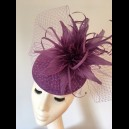 Gorgeous & Glorious Iris Sinamay Cap with Feather Flowers & Veiling