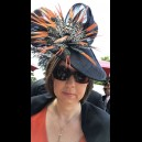 Gorgeous & Glorious Black Sinamay Headpiece with Orange Tipped Feathers